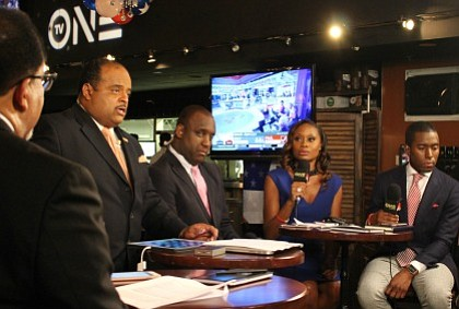Roland Martin and panelists at  TV One  #NewsOneNow Election Night Watch Party