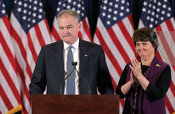 Richmond resident and U.S. Sen. Tim Kaine, who was tapped to be Hillary Clinton's vice presidential running mate, introduced her ...