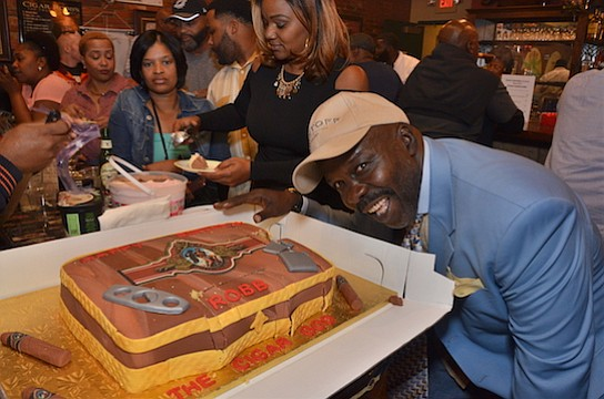 Robb Hunter, owner of the Havana Mix Cigar Emporium, celebrated his birthday with a bash last Saturday (Nov. 5). The celebration was hosted by Glen Case, president and founder of Kristoff Cigars. (Photo: Karanja A. Ajanaku)