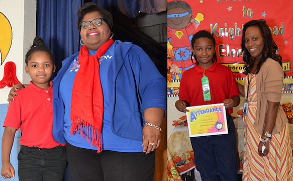 Principal Femetress Gray (left)  and Knight Road Elementary School held it s First Nine Weeks Honors Program on Nov. 4. The students saluted included these second and fourth graders, who also are brother and sister. (Photo: Tyrone P. Easley)