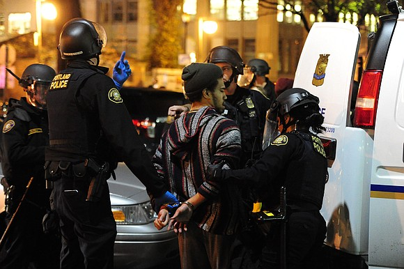 A protest against Donald Trump's victory in the presidential election turned into a riot in downtown Portland late Thursday