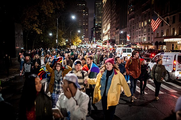 Protesters hit the streets Sunday over the election of Donald Trump, marking the fifth day of demonstrations in cities such ...