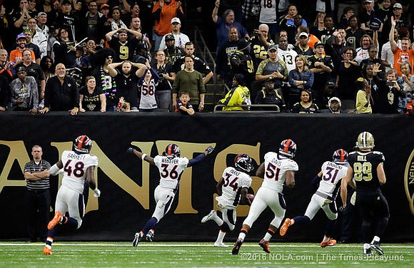 The Denver Broncos did not commit a penalty on the block of an extra point that would have given the ...