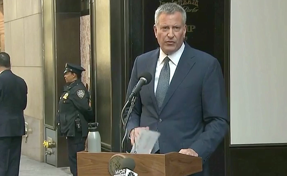 New York City Mayor Bill de Blasio and Council Speaker Melissa Mark-Viverito announced a 90 percent drop in criminal court ...
