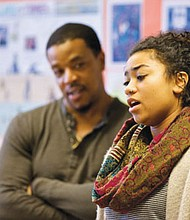 Jefferson High School senior Sekai Edwards rehearses with Grimm actor Russell Hornsby in preparation of last year's August Wilson Monologue Competition. Applications for students to participate in this year's contest are now being taken.