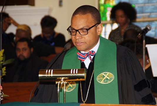 "Dr. Logan Hampton, the 10th president of Lane College in Jackson, Tenn., delivers the keynote message. According to a historical overview in the celebration booklet, Collins Chapel is called the ""Mother Church of Colored (Christian) Methodism in that it predates the founding of the Colored Methodist Episcopal Church, 1870 in Jackson, Tennessee."" (Photo: Tyrone P. Easley)"