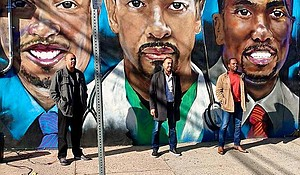 Mural featuring the Three Doctors (Drs. Rameck Hunt, Sampson Davis and George Jenkins) in Newark