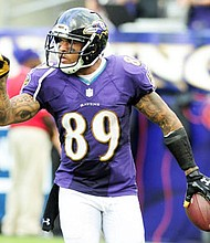 Ravens wide receiver Steve Smith Sr. celebrates after making a catch against the Oakland Raiders at M&T Bank Stadium during the 2016 regular season.
