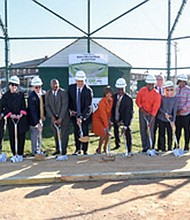 BGE CEO Calvin Butler was joined by baseball hall of famers Brooks Robinson, Cal Ripken, Jr and Eddie Murray along with Baltimore Mayor-elect Catherine Pugh and City Council President Jack Young at the groundbreaking of Eddie Murray Field at BGE Park in West Baltimore on Friday, November 18, 2016.