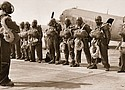 A historical photo from 1945 shows black paratroopers from an elite unit of the Army which was deployed to fight forest fires in the Pacific Northwest.