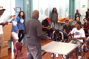 Michael Guinn, MSW, founder of Fort Worth National Poetry Slams and The DFW Brave New Voices Youth Poetry Slam, leads poetry workshop during the Kick-Back Party, Nov. 12.