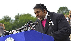 During a panel discussion on the 2016 elections on Capitol Hill, Rev. Dr. William J. Barber II, president of the North Carolina NAACP, expressed his thoughts on the voter suppression tactics that were used during the 2016 presidential election. Photo taken during a NAACP demonstration on the steps of the Lincoln Memorial in Washington, D.C. in June 2015.