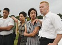 """Loving"" is a new dramatization about the couple behind a 1967 Supreme Court decision overturning laws against interracial marriage.  The cast includes (from left) Alano Miller as Raymond Green, Terri Abney as Mildred's sister Garnet, and Ruth Negga and Joel Edgerton as Mildred and Richard Loving."