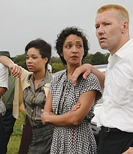 """""""Loving"""" is a new dramatization about the couple behind a 1967 Supreme Court decision overturning laws against interracial marriage.  The cast includes (from left) Alano Miller as Raymond Green, Terri Abney as Mildred's sister Garnet, and Ruth Negga and Joel Edgerton as Mildred and Richard Loving."""