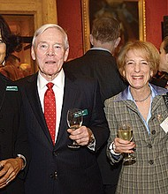 """The Emerald Necklace Conservancy hosted """"An Emerald Evening,"""" benefit fundraiser for over 250 guests and supporters in the Koch Gallery at the Museum of Fine Arts. ENC president Karen Mauney-Brodek, Governor Michael Dukakis and """"Olmsted Award"""" honoree Ben Taylor."""
