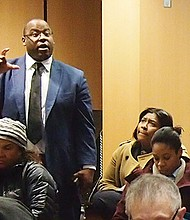 City Councilor Tito Jackson makes a point during the BPDA's Plan Dudley meeting.