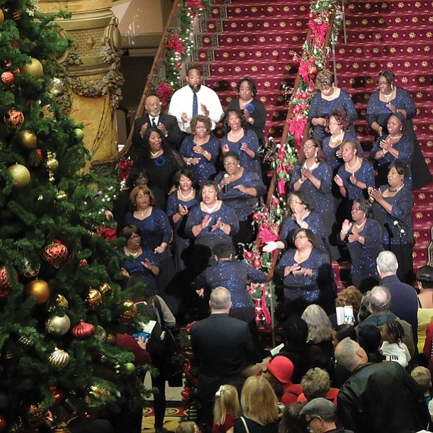 Jefferson starts joyous season // members of the Richmond Chapter of the Gospel Music Workshop of America perform during the free event.