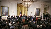 President Obama speaks during his last presentation of the Medal of Freedom, the nation's highest civilian award, during a ceremony in the East Room of the White House on Nov. 22.