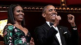 The Obamas enjoy a laugh at their eighth and final Kennedy Center Honors gala.