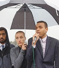 Activists from Portland's Resistance, Micah Rhodes (from left), Kathryn Stevens and Gregory McKelvey hold a news conference after charges they faced from a Nov. 21 protest were dropped.