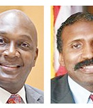 Unofficial results show a tight race in the runoff between Gregory Adams (left) and Randal Mangham for the DeKalb County Commission's Super District 7 seat.