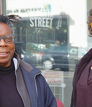 Longtime Northeast Alberta Street property owner Roslyn Hill (left) and Sara Wittenberg, executive director of the Alberta Main Street organization, promote a new African American legacy markers project.