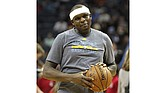 Grizzlies PF Zach Randolph warms up before a game.