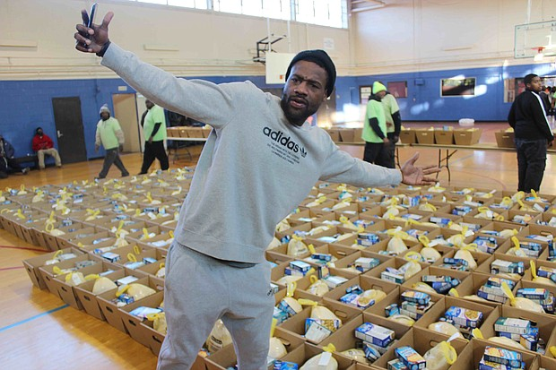 """Grizzlies SG Tony Allen — a.k.a. """"The Grindfather"""" and """"FTAD"""" — at the Ed Rice Community Center in Frayser on Dec. 9. Allen, along with Grizz F Jarell Martin, helped distribute about 400 holiday food boxes to families in Frayser."""