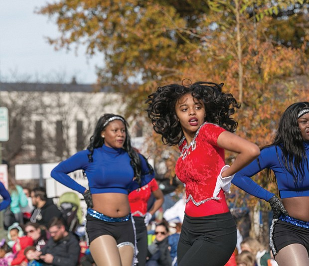 Majorettes with the Richmond Public Schools All-City Marching Band make their moves.