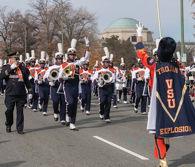 The Trojan Explosion, Virginia State University's marching band, prepares for their next musical selection.