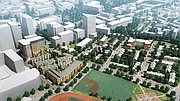 This rendering shows the proposed new Whittier Street development (lower left) abutting the Tremont Crossing project to the left and the Madison Park housing development to the right.