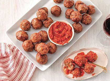 Stuffed Pork Meatballs with Romesco
