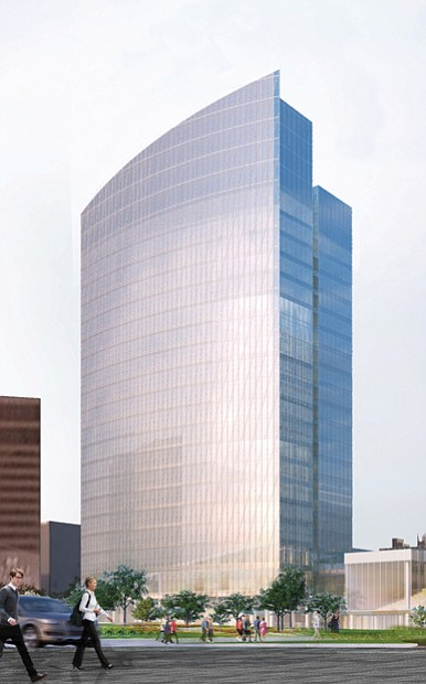 Rendering by Kendall/Heaton Associates  Changing the skyline Work began Monday on this 20-story, sail-shaped office tower that Dominion Resources is constructing in Downtown. The building, which is expected to have 1,000 employees and four floors of parking underground, is to open in 2019 in the block bounded by Cary, 6th, 7th and Canal streets. Dominion and the builders, Hourigan Construction Inc. of Richmond and Clayco Corp. of St. Louis, are promising that minority firms will play a significant role in the development. Dominion has hired Kenneth Johnson of the marketing and public relations firm Johnson Inc. as a diversity consultant. Dominion has yet to release the cost for the building, but it is projected to be around $100 million.