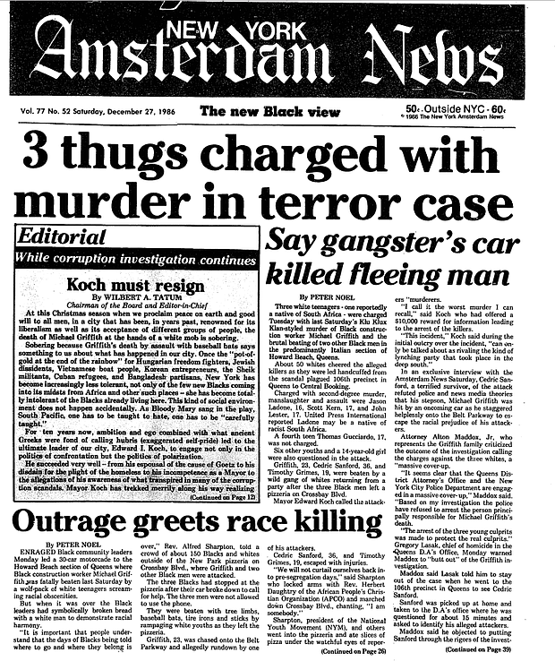 New York Amsterdam News Coverage Of The  Howard Beach Racial Incident