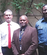 Campus security at Portland State University draws on diversity and experience as three African American officers formerly with the Portland Police Bureau join a controversial new PSU police force. Pictured (from left) are officers Marci Jackson, PSU Police Chief Phil Zerzan, and officers Vince Elmore and Willie Halliburton.