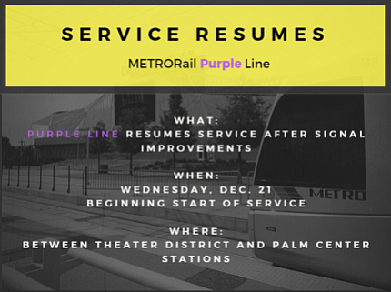 Purple Line Resumes Normal Service Ahead Of Schedule Houston Style