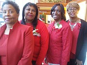 Members of the Anne Arundel Chapter Continental Societies, Inc., Doris Durrett and Andrea Jones Horton; Earline Wade, 1st vice president; and Hadassah Saunders, financial secretary.