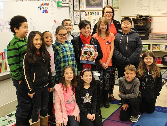 State Rep. Natalie Manley stopped by Troy Craughwell Elementary recently to talk about elections.