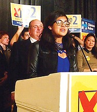 Gabriela Pereira, South Boston High School student, addressed Question 2 opponents during a gathering at the Massachusetts Democratic Party's celebration at the Fairmont Copley Plaza. The defeat of Question 2 maintained the cap on charter schools.