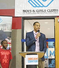 CJ McCollum at the recent dedication of the CJ McCollum Dream Center, a new educational space with books, computers and other activities at the Blazers Boys and Girls Club on Northeast Martin Luther King Jr. Boulevard.