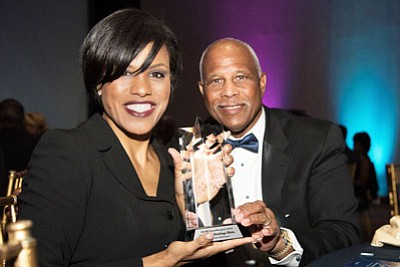 Former Baltimore City Mayor Stephanie Rawlings-Blake and Joseph Haskins, Jr., Chairman, CEO and President, The Harbor Bank of Maryland at PRT Annual Awards Gala.