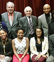 Members of TouroCOM, TouroCOM-Harlem Community Advisory Board and student scholarship winners attend the URM event: (back row, left to right) Jerry Cammarata, Ph.D., CEO and dean of Student Affairs, TouroCOM Middletown; CAB member Icilma V. Fergus, M.D.; Kenneth Steier, D.O., executive dean, TouroCOM New York and dean, TouroCOM Middletown; Martin Diamond, D.O., interim dean TouroCOM Harlem and founding dean/dean emeritus; John Palmer, Ph.D., TouroCOM director of Community Affairs and Diversity; Nadege Dady, Ed. D, TouroCOM dean of Student Affairs; and CAB member Milton O. C. Haynes, M.D., and (front row) Touro College and University System Provost Patricia Salkin, J.D.; student award winners Patricia Jean-Charles (OMS II), Dale Marie Simpson (OMS III) and Chantal Gomes (OMS IV); CAB member Geoffrey Eaton, deputy chief of staff; and Congressman Charles B. Rangel.