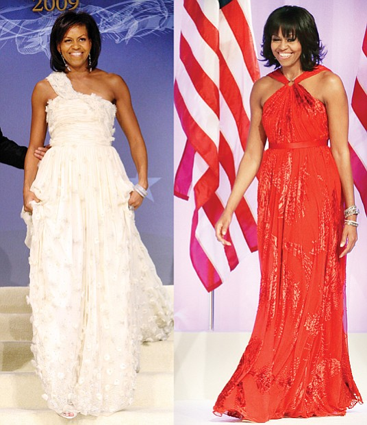 First Lady Michelle Obama steps onto the stage at her husband's first inaugural ball in January 2009 wearing a custom ivory, one-shoulder gown with Swarovski crystals and rosette appliqués by designer Jason Wu. Mr. Wu also designed the ruby gown, far right, Mrs. Obama wore at the second inaugural ball in January 2013.