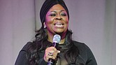 Kim Burrell speaking onstage in New York Nov. 6, 2014
