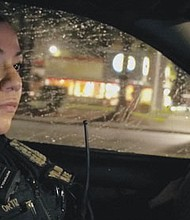 Portland Police office Joana Ortiz, assigned to patrol in the Police Bureau's North Precinct, participates in a new Portland Police Bureau police recruitment video to help attract more minority and women police officers to the bureau's ranks.