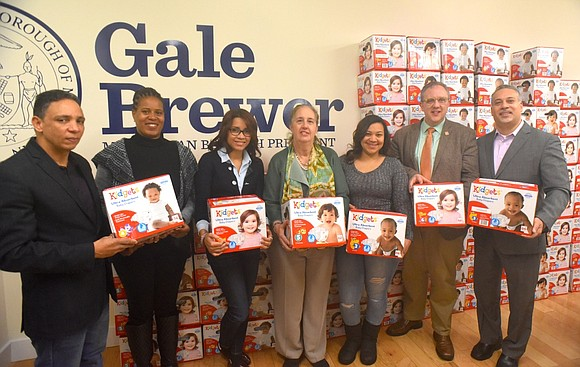 Borough President Gale A. Brewer and the Food Bank for New York City celebrated the donation of thousands of diapers ...