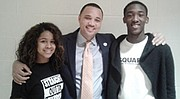 Maryland State Delegate Antonio L. Hayes from the 40th legislative district (center) with Randallstown High School  students Imani Estrada (left) and Tywon Cox (right). Delegate Hayes addressed 100 Randallstown High students on December 21, 2016 as part of the school's monthly speaker series.