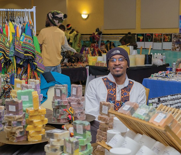 Travis Johnson above left, of Bahashem Products is among the vendors in the festival's marketplace.
