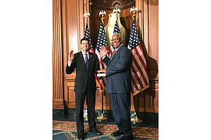 Congressman A. Donald McEachin of Henrico County takes the oath of office Tuesday as House Speaker Paul D. Ryan holds a Bible during the ceremony at the U.S. Capitol in Washington. He is the second African-American to represent Virginia in Congress since the late 1890s.