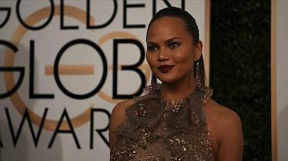 Chrissy Teigen at the 74th annual Golden Globe Awards